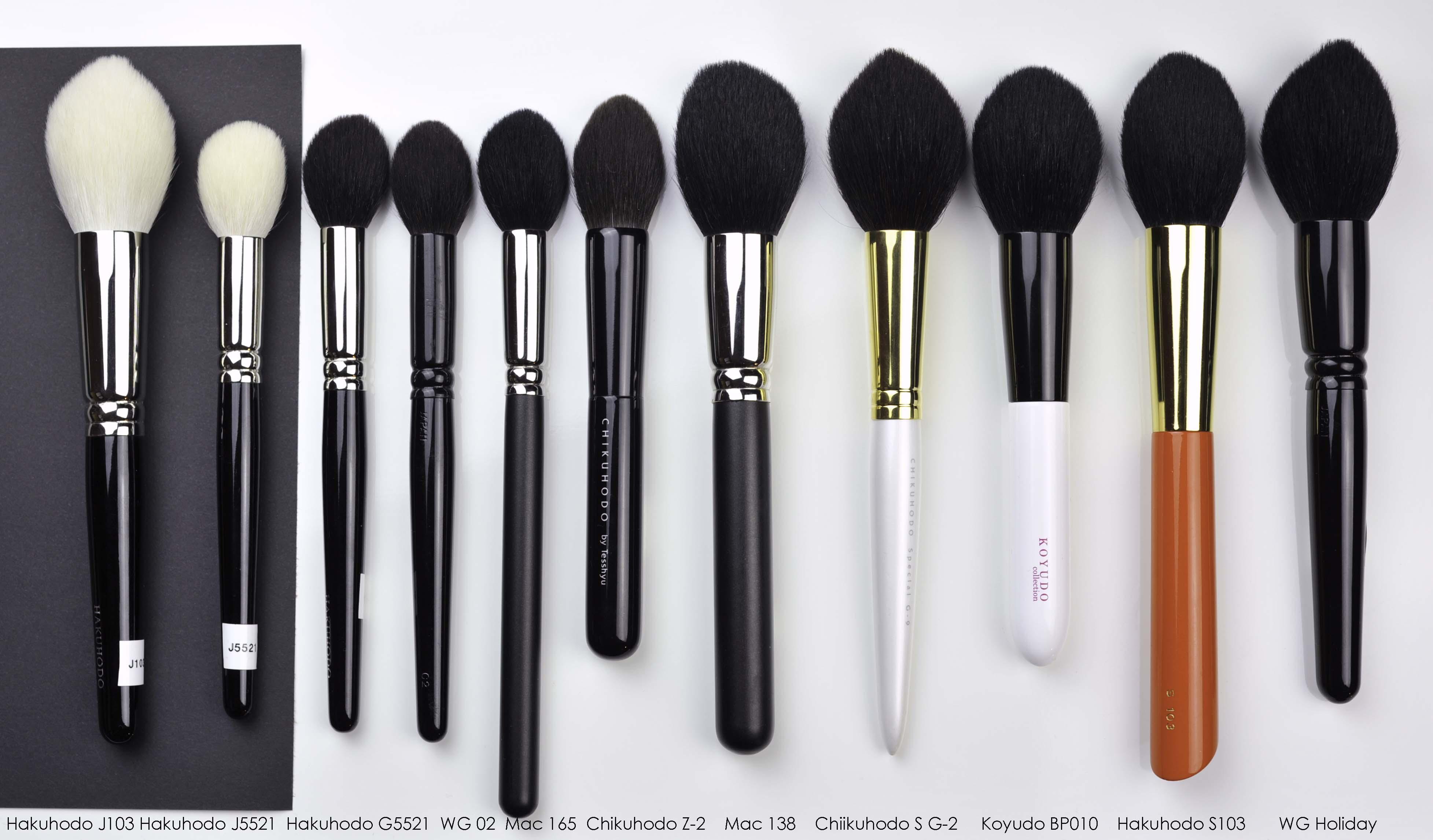 Koyudo BP010 with some similar shaped brushes – Sweet Makeup